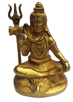 <b>Content: </b>Pure Brass Shiva in Meditation Pose<br> <b>Dimensions: </b>12 cm Height <b>Material: </b>Brass<br> <b>Other Details: </b>No Indian household is complete without a Puja.  The idol depicts Lord Shiva sitting in meditation in Padmasana - a popular yogic posture. This is in consonance of his status of an ascetic yogi. He is seated on a tiger in a meditation pose with a Trishul, Damroo placed beside him and Nag, the snake, coiled around his neck.