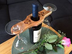 Valentine's Day is right around the corner. I wanted a nice project that my wife and I could both enjoy. I came up with this simple wine and wine glass holder. The holder fits over the neck of the wine bottle and two wine glasses balance on each end. I've personalized the holder with our initials. This is a quick and easy project to share with that special someone in your life. You can find the pattern here.  Enjoy the show!   https://www.youtube.com/watch?v=RtXhfPZ_epk
