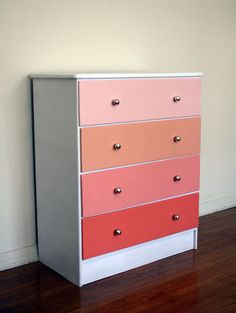 Coral Ombre Painted Wood Dresser. Pantone. Apricot. Beach House Sunset. Get paint samples to keep the cost low