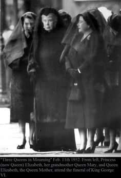 """""""Three Queens in Mourning"""" Feb. 11th 1952."""