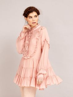 This lightweight blush dress features ruffle trim details on bodice, sleeves and collar. Its loose fit makes for a flirty yet comfy feel, perfect for a sprin. Ruffle Trim, Ruffle Dress, Blush Dresses, Girls Dresses, Stylish Outfits, Vintage Inspired, Women Wear, My Style, Lace