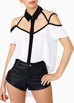 Chiffon Shirt with a Turndown Collar