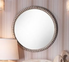 With its weathered whitewash finish, our Audrey Beaded Mirror brings casual style to a room. Frame is made of fir wood; features a whitewash finish. Glass mirror with MDF backing. Backed with D rings for wall mounting. Round Wall Mirror, Mirror Art, Round Mirrors, Beaded Mirror, Wood Trellis, How To Clean Mirrors, Wall Candle Holders, Home Decor Mirrors, Curtains For Sale
