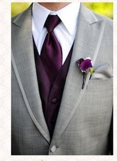 Gray tux with plum vest/tie. Maybe this but with turquoise or a dark blue?