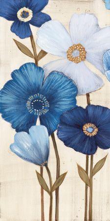 Canvas Art Set: Fleurs Bleues I by Maja : Arte Floral, Stretched Canvas Prints, Flower Art, Painting & Drawing, Art Projects, Art Drawings, Canvas Art, Art Prints, Flowers