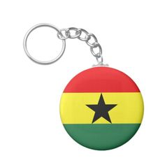 Flag of Ghana Basic Round Button Key Ring