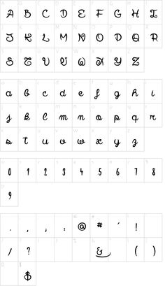 Smile Parade font character map