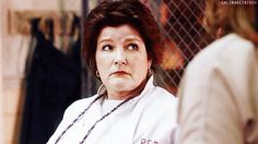 """Where do you recognize """"Orange is the New Black's"""" Red from? That's right, she used to be the Captain of the Federation Starship Voyager. And now Kate Mulgrew is playing the same part, more or less in Jenji Kohan's new show. Kate Mulgrew, Orange Is The New Black, Oitnb Red, Jenji Kohan, Captain Janeway, Julie Andrews, Her Smile, New Shows, Star Trek"""