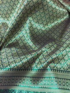 Thai silk curtain panel bright sky blue with metallic for Spa uniform bangkok