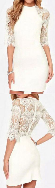 Lace is one of the most feminine and chic textures you can wear. The Oh My Love Bodycon Dress features delicate lace at sleeves and back. We love it with a coat~ You deserve it at CUPSHE.COM