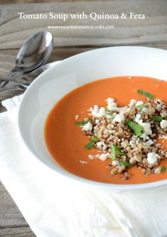 Tomato Soup with Quinoa and Feta, mouuntainmamacooks.com