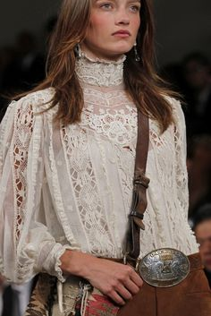 I don't pine for thigns very often. However this blouse makes me yearn, I have the perfect Cameo to place on the neck of this lace confection. Yup. Want. ~ Di. http://images.vogue.it/imgs/sfilate/pe-2011-collezioni/ralph-lauren/dettagli/HQ/00470h.jpg