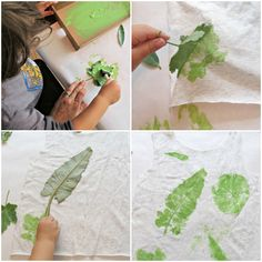 Leaf Print T-shirts for kids -- a classic! Kids get the fun of collecting leaves, making the project and then wearing what they make! Details from Skip To My Lou. For more fun camping crafts visit Http://www.notaclueadventures.com
