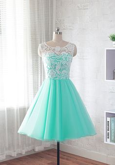 Fashion mint green A-Line/princess Scoop Neck knee length prom dresses homecoming dresses bridesmaids dresses with lace Sleeveless   For Custom Size, Please leave following measurement, You can find a message box in the shopping cart, leave your custom size, Thank You. Measurement  ***************************************************************  This dress are custom made according to your measurements.   ♥For The length of the floor style, we need(Please refer to the picture of Measuring…