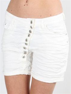 Zanca Sonne - Hvide shorts med knaplukning