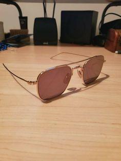 65380ed70498 Sunglasses designer Thom Browne Titanium TBS907 Gold flat lens Luxury   fashion  clothing  shoes
