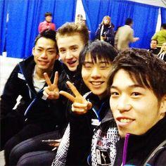 With Takahito Mura)JAPAN) ,Yuzuru Hanyu(JAPAN) and Misha Ge(Uzbekistan) : World Figure Skating Championships 2013 in London(CANADA)