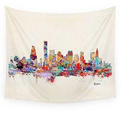 """Society6 Boston City Watercolor Wall Tapestry Medium: 68"""" x 80"""""""