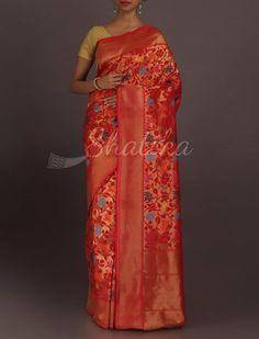 Sharmila Colorful Bloom Full Ornate Real Zari Banarasi Brocade Silk Saree