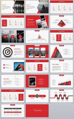 Red Annual Report PowerPoint templates