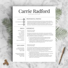 Resume Template  Professional Resume Template For Word  Pages