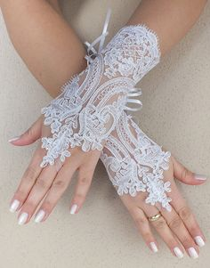 Free ship white black Wedding gloves french by ByMiracleBridal