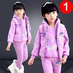 33.16$  Know more  - 2015 Girls Winter Clothes Cotton Thick Warm 3pcs Girls Clothing Sets Full Length Hoodies Vest Pants Roupas Infantis Menino TZ22