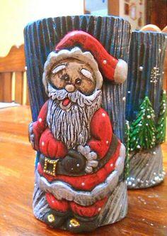Navidad 2015. vela tallada decorativa de Santa, elaborada artesanalmente por Yalitza Rojas, mi hermana! #Decoracion #Navidad #Velas Carved Candles, Diy Candles, Polymer Clay Sculptures, Sculpture Clay, Diy Candle Holders, Pen Holders, Japanese Patchwork, Mug Art, Candle Making
