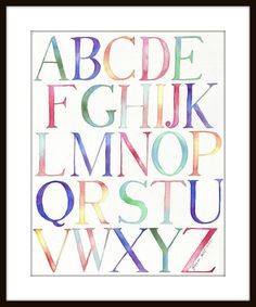Alphabet Watercolor Painting - Typography Kids Room Watercolor Art Print, Wall Art This is a print of my original watercolor painting of a Alphabet Art, Alphabet And Numbers, Letter Art, Alphabet Fonts, Alphabet Soup, Watercolor Typography, Art Watercolor, Artist Painting, Nursery Wall Art