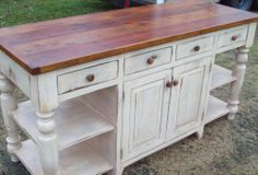 large Handmade Kitchen Island Distressed White Antique Reclaimed woods