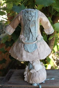 Antique doll dress and hat, silk, lace, French Bebe antique dolls