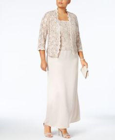 Alex Evenings Plus Size Sequin-Lace Gown and Jacket