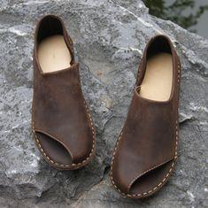 Nuevo 2016 hechos a mano puro todo el zurriago zapatos de cuero retro arte mori niña pescado articulan las sandalias femeninas zapatos mocasines, café / de color caqui