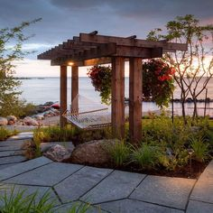 Furniture:Fabulous Beach Style Patio With A Hammock Over Wooden Pergola Roofing And Also Stone Footpath Outdoor Decorations: Hammock Ideas That Will Adding Cozy Accents for Your Homes