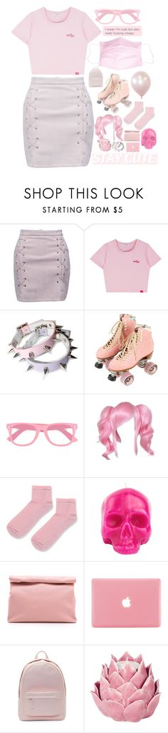 """""""Aesthetic: Tacky Pastel"""" by artemishunters ❤ liked on Polyvore featuring WithChic, Moxi, fred flare, Topshop, D.L. & Co., Marie Turnor, PB 0110, Zara Home, Pink and skirt"""