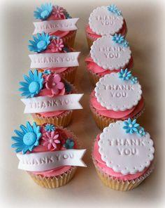 Thank you cupcakes Eid Cupcakes, Teacher Cupcakes, Thank You Cupcakes, Thank You Cake, Pretty Cupcakes, Themed Cupcakes, Yummy Cupcakes, Cupcake Cookies, Ballet Cupcakes