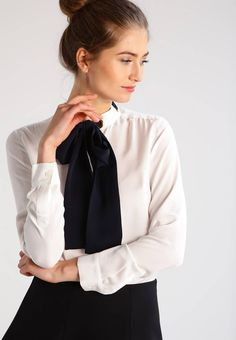 """Shirt - ecru. Sheer:semi-sheer. Outer fabric material:100% silk. Total length:27.0 """" (Size S). Collar:Mandarin collar. Details:bust darts. Back width:14.5 """" (Size S). Length:standard. Fit:regular. Our model's height:Our model is 71.0 """" tall and is wearing size ..."""