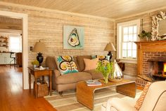 Ford Caretaker's Cottage Renovation  Love the texture of the walls, neutral palette, with the tasteful pops of color.