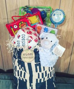 Gift basket perfect for baby and older sibling.  San Francisco love!