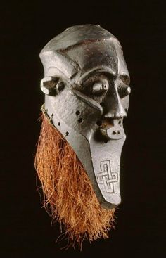Africa | Mask from the Kuba people of Kasai, DR Congo | Wood and vegetal fiber