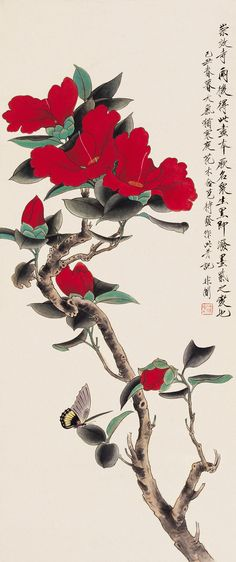 Yu Feian – probably camellia tsubaki japonica with butterfly painting chinese st… - Chinese Ideen Sumi E Painting, Japan Painting, Japon Illustration, Botanical Illustration, Chinese Flowers, Chinese Painting Flowers, Butterfly Painting, Butterfly Wall, Art Japonais