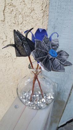 Black and Blue Mini Origami Flower Arrangement by FlorigamiFashions on Etsy