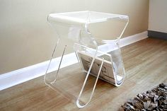 Clear Lucite Side Table Magazine Rack.png - Decoist
