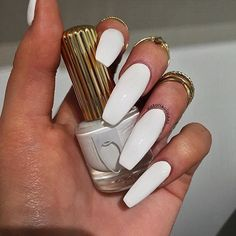 SETTIN THE TONE WITH 'MRS. TONY MONTANA' BBANGEL @victoriaoliviaxo IN OUR OPAQUE WHITE CREME 'MRS. TONY MONTANA'  FLAWLESS & A ONE COATER  SHOP LINK IN BIO!! ☁️⌨✉️