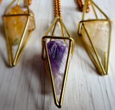 Amethyst Necklace, Geometric Cage Pendant, Purple Rough Amethyst, Caged Crystal, Radiant Orchid Gold
