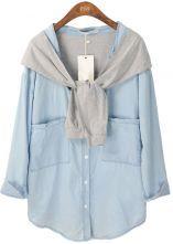 Blue Long Sleeve Contrast Cape Pockets Denim Blouse $41.6     Adore this !