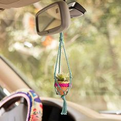 Fuscia Pompom Mini Macramé Succulent - The adorably Mini Macramé Succulents are perfect to hang in any tiny spot, even your rearview mirror!
