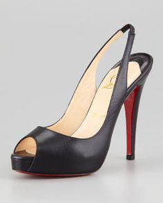 X1K5P Christian Louboutin No Prive Leather Slingback Red Sole Pump, Black