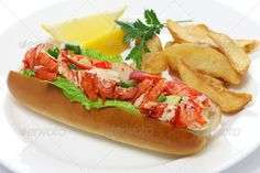 lobster roll ...  American Cuisine, American Food, american, american dish, bun, celery, close up, cuisine, diced, dinner, dish, food, french fries, gourmet, homemade, hot dog bun, isolated, lemon, lettuce, lobster, lobster roll, lobster salad roll, lobster sandwich, lunch, mayonnaise, meal, meat, new england, potato, red, roll, salad, sandwich, scallion, seafood, submarine, traditional, united states, white background