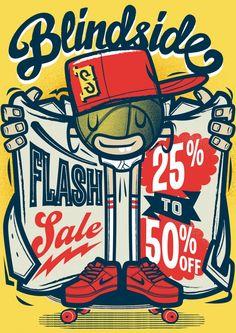 Blindside Sales Poster   Illustrator: Travis Price: Melbourne Victoria Australia Vector